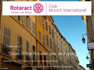 "Meeting - Sibille Vinzens & Marina Bassilious about ""Goals of this Rotarian year and update"" @ Künstlerhaus München, Room Allotria 